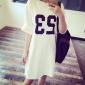 2017韩版夏季新款宽松中长款短袖t恤女印花打底衫