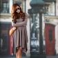 现货批发 品质韩国进口服装新春秋弹力棉修身不规则连衣裙